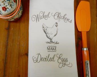 Wicked Chickens Deviled Eggs Decorative Kitchen Towel Funny Kitchen Decor