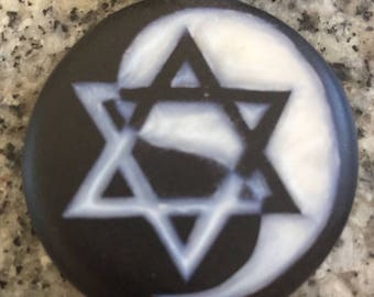 Star of David Yin Yang hand carved on a polymer clay black color background. Pendant comes with a FREE necklace