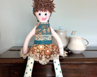 Rowena RabbitRascal -  Rag Doll  in pretty floral blue and brown  Vintage Fabrics , a Forest Friend by Witty Dawn