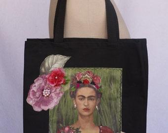 Frida, Colorful Floral, Black Canvas, Tote Bag, Appliqué, Heat Press, Mexican Boho, Kahlo