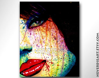Signed Art Print - As The Dust Settles - Rainbow Pop Art Punk Rock Horror Portrait Edgy Alternative Signed Art Print by Carissa Rose