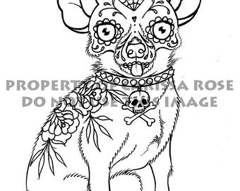 dog sugar skull coloring pages | Digital Download Print Your Own Coloring Book Outline Page