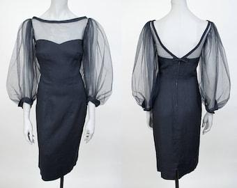 Vintage 60s Dress / 1960s Black Linen and Mesh Bishop Sleeve Sheath Dress S