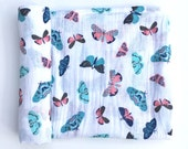 """Butterflies- Muslin Premium Swaddle Blanket- large 47""""x47""""- light-weight swaddle- baby blanket- double gauze- teal- coral- peach- mint"""