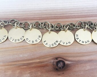hand stamped mother's charm bracelet
