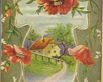 Red Poppies and Country Cottage on Charming Embossed Antique Birthday Postcard 1912