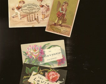 4 Victorian Trade Cards 1800s Advertising Ephemera Lot – Lavine Centennial and Pure Granulated Soap – Florals and Sports