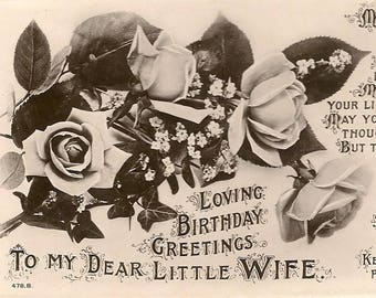 Antique Real Photo Postcard Loving Birthday Greetings To My Dear Little Wife – Terry - J Beagles Postcard
