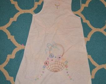 Vintage Child's Bib Apron Embroidered Flower Basket