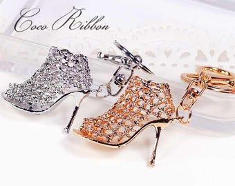 Gold 3D Rhinestone Crystal High Heel Fashion Shoe Sandal Handbag Purse Alloy KeyChain Ring B25