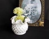 """Vintage Fenton Milk Glass Hobnail Vase 3"""" Vase 3853 MI"""