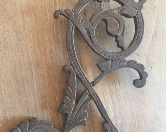 Vintage Ornate Brass Applique Hook - Stormy Patina