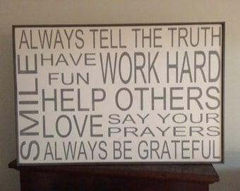 Always tell the truth sign,24x36, sign, Kitchen Signs, Fixer Upper Signs, Custom, Farmhouse Signs, Rustic Signs, Wall Hangings, Wall Decor,