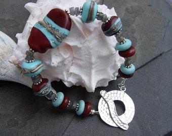 Red River - Handmade Lampwork and Sterling Bracelet