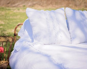 Ruffled Linens Duvet with Tuxedo Ruffle
