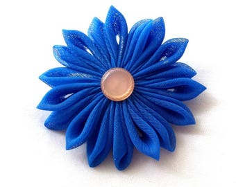 Royal Blue Hair Flower Tsumami Kanzashi Clip