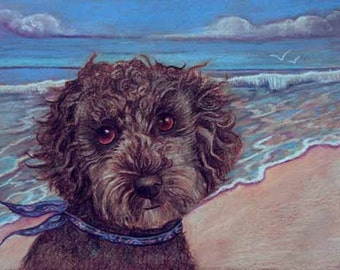 poodle dog on beach painting art dog surf sea wind Original Oil Pastel painting beach