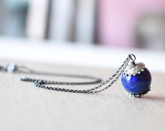 Huge Lapis Lazuli Round Necklace with Dotted Caps Oxidized Sterling Silver OOAK