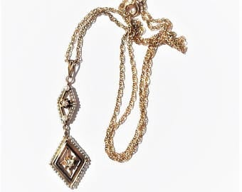 Antique Edwardian 10-14k Gold Enamel Diamond and Seed Pearl Lavalier Pendant Necklace