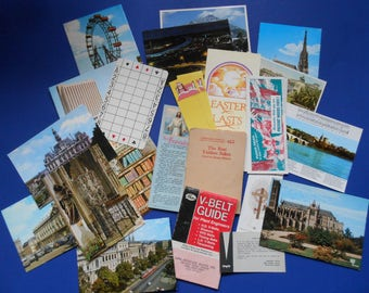 Vintage Paper Ephemera, 24 Pieces, Postcards, Bookmarks, Etc.