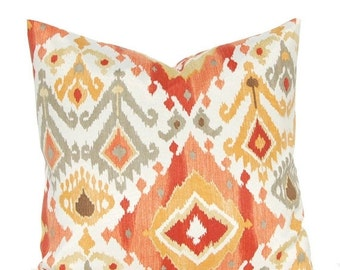 15% Off Sale Outdoor Cushion Cover - Deep Coral, Rust and Gold - Ikat Pillow Cover - Patio Seating - Garden Decoration - Indoor Outdoor Pill