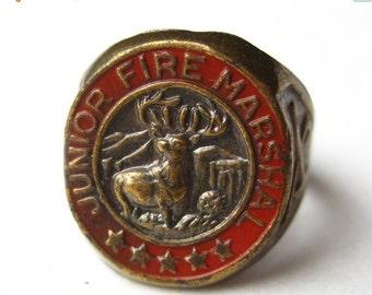 HOLIDAY SALE Vintage Junior Fire Marshal Hartford Insurance Promo Novelty Ring size 7