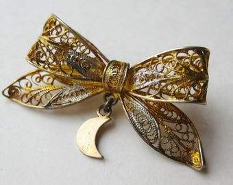 Vintage 40s Italian Gold Vermeil 800 Silver Cannetille Filigree Ribbon Bow Shaped Brooch Pin