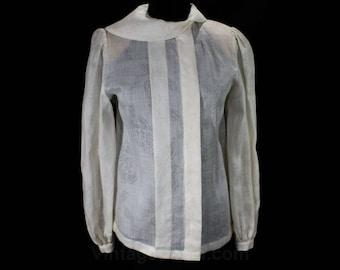 Size 10 Sheer Blouse - Hanae Mori 1980s White Summer Top - Long Sleeved 80s Office Shirt - Superb Quality Linen - NWT - Bust 38 - 48639