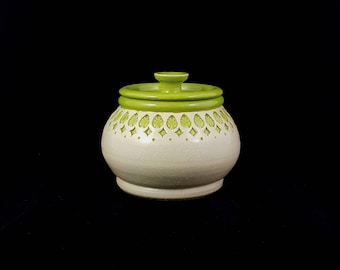 Stoneware Stamped Lidded Storage Jar