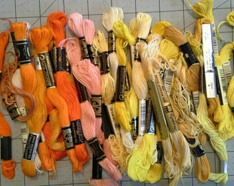 Yellow and Orange Embroidery Thread Lot of 35 Full and Partial Skeins ET0102