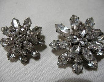 Vintage Set of Two Rhinestone Starburst Brooches, Made in Austria