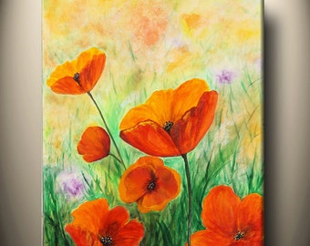 art acrylic painting,office home decor,wall art,red poppies,California poppy, flower field,20x16inch original painting,Free Shipping in US