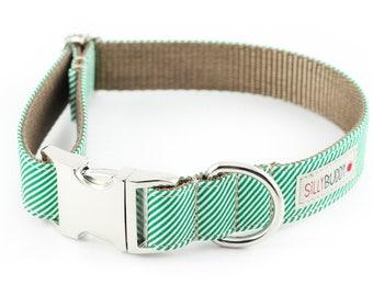 Green Pinstripe Dog Collar
