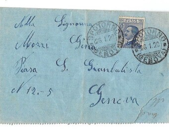 1920 Handwritten Correspondence LETTER from Italy - GENOVA - Antique Italian MAILING Paper Ephemera