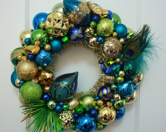 "Vintage Christmas Ornament Wreath Kitschmas ""Birds of Paradise"" with Peacock Bird Kurt Adler Peacock Feathers Starburst Lime Green Turquoise"