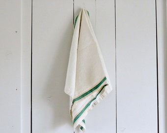 RUSTIC Vintage Nubby Oatmeal Linen Torchon Kitchen Tea Towel French Green Stripes