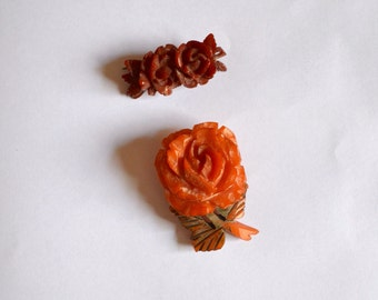 1920s 30s Lot deeply carved bakelite brooches / 1930s 20s rose bar brooch