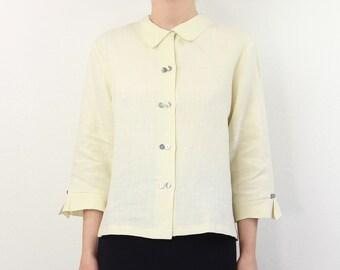VINTAGE Linen Blouse Collar Top