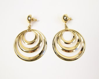 VINTAGE Big Earrings Gold Round Dangle Pierced