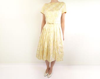 VINTAGE Gold Dress 1950s Brocade Gown