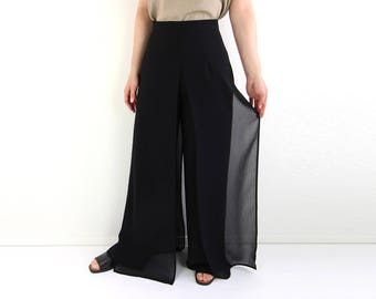 VINTAGE Black Panel Pants Wide Leg Sheer Palazzo
