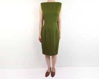 VINTAGE Linen Dress Olive Green