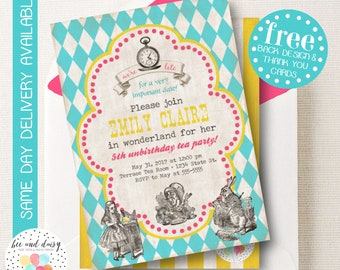Alice in Wonderland Invitation, Wonderland Birthday Invitation, Wonderland Birthday Party, Wonderland Party Invitation, BeeAndDaisy