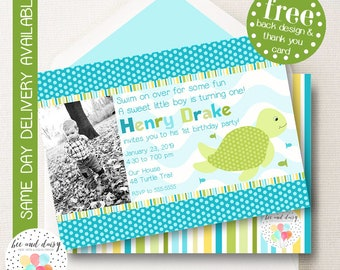 Sea Turtle Invitation, Sea Turtle Birthday Invitation, Sea Turtle Party, Boy First Birthday, Boy Birthday, Sea Turtle Photo Invite