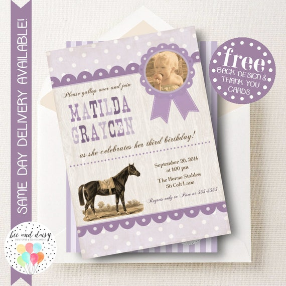 vintage horse invitation for girls birthday party printable party