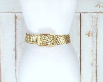 Vintage wide metallic gold faux leather woven rope belt/metallic gold braided vegan leather belt/small
