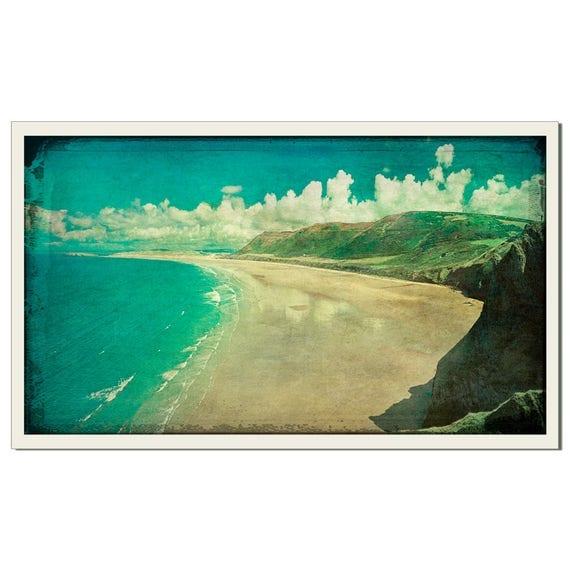Rhossili Bay - Grunged Photographic Print by Doug Armand on Etsy