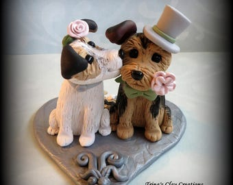 Wedding Cake Topper, Custom Cake Topper, Yorkie, Puppy Cake Topper, Dog, Polymer Clay, Keepsake, Kissing Dogs
