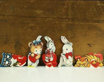 Vintage Valentine's Day Cards / Animal Themed / Unused Lot of 5