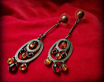 Delicate Coppery Amber Shoulder Duster Earrings